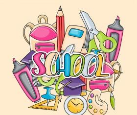 School hand drawn background vector 08