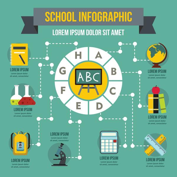 School infographic design vector