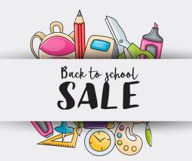 School sale background hand drawn vector 01