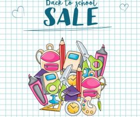School sale background hand drawn vector 02