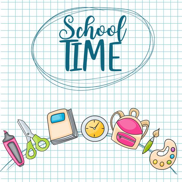 School time background vector 01
