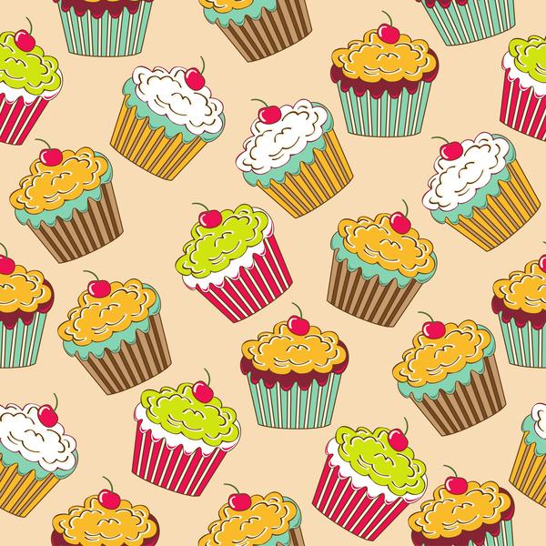 Seamless cupcake pattern vector
