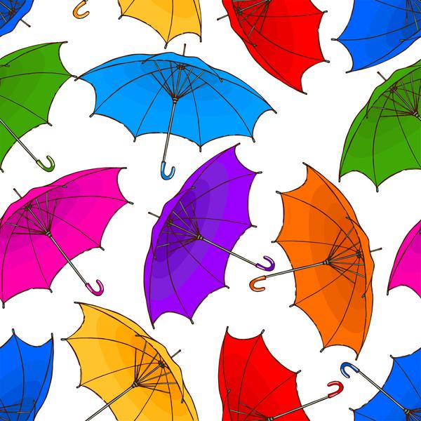 Seamless umbrella pattern vector