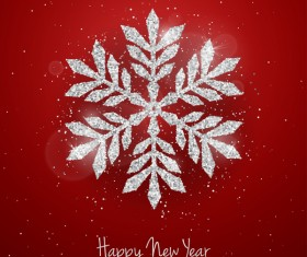 Silver snowflakes with red christmas vector 01
