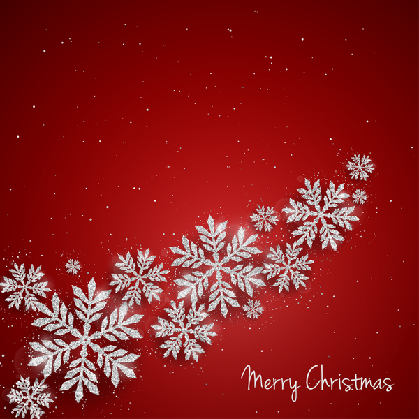 Silver snowflakes with red christmas vector 02