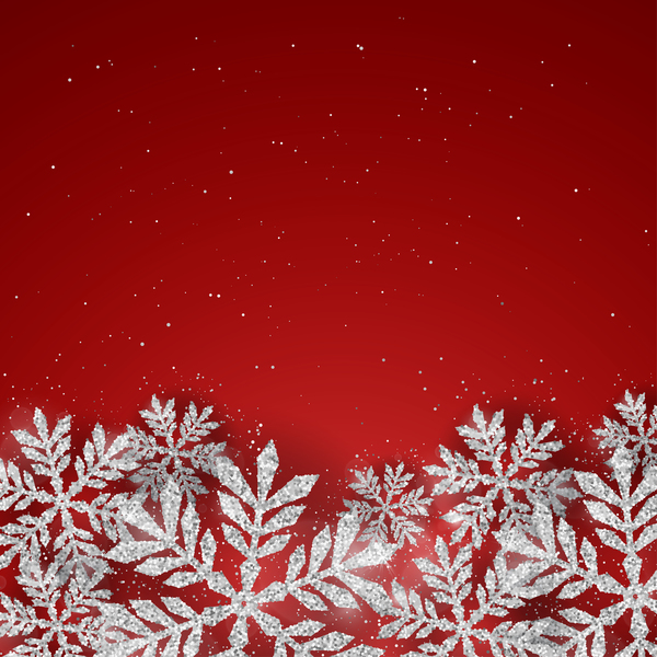 Silver snowflakes with red christmas vector 04