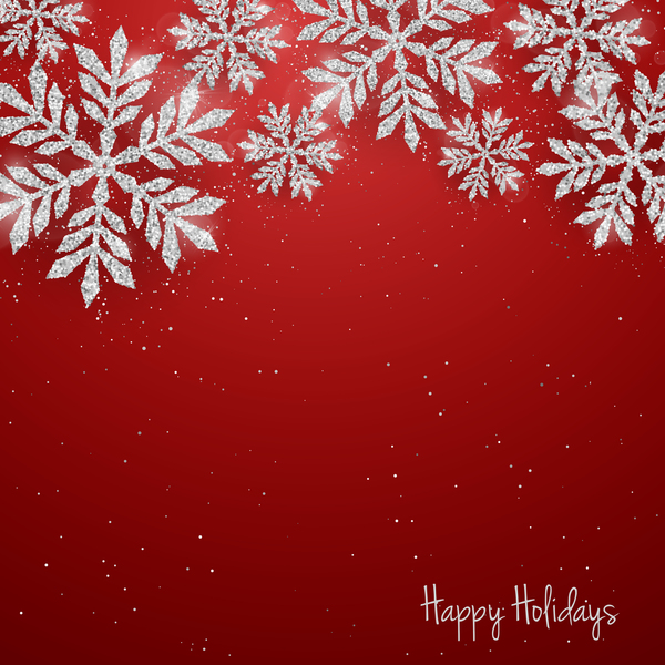 Silver snowflakes with red christmas vector 05