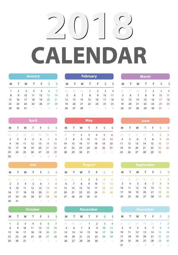 simple calendar 2018 vector material 01