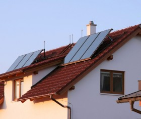 Solar panels on the roof Stock Photo 01