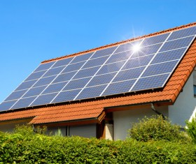 Solar panels on the roof Stock Photo 02