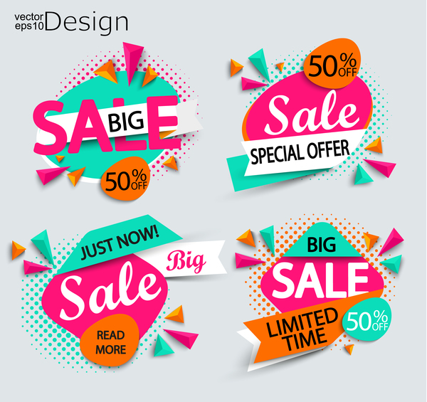 Special offer with big sale vector labels 01