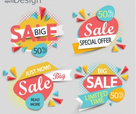 Special offer with big sale vector labels 02