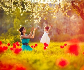 Spring to accompany the children outing mother Stock Photo