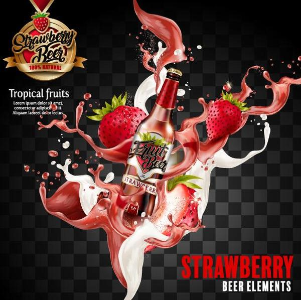Strawberry beer poster illustration vector 01