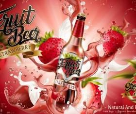 Strawberry beer poster illustration vector 02