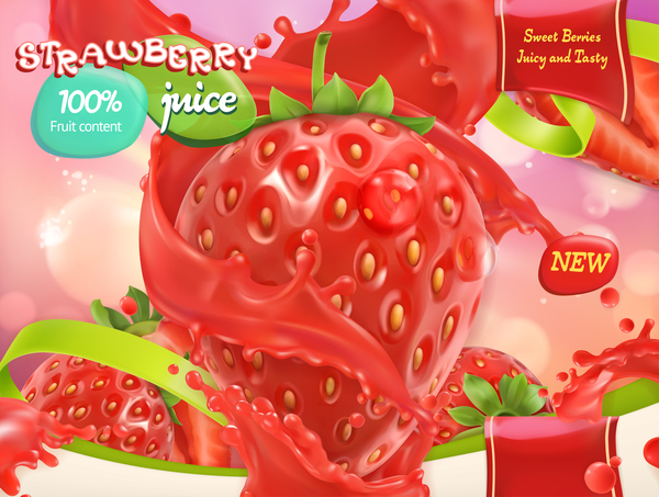 Strawberry juice poster template vector