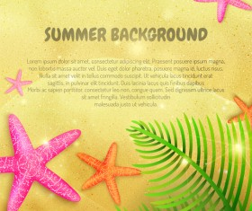 Summer beach background with starfish vector