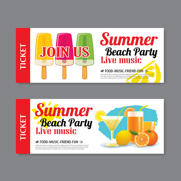 Summer beach party banners vector material 01