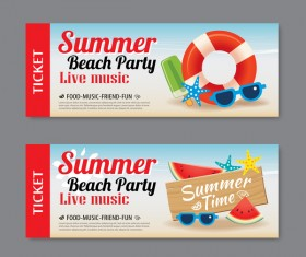 Summer beach party banners vector material 02
