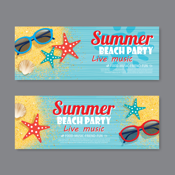 Summer beach party banners vector material 03