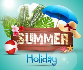 Summer holiday tropical background with wooden sign vector