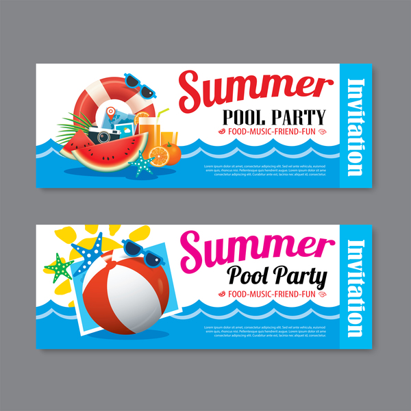 Summer pool party banners vector