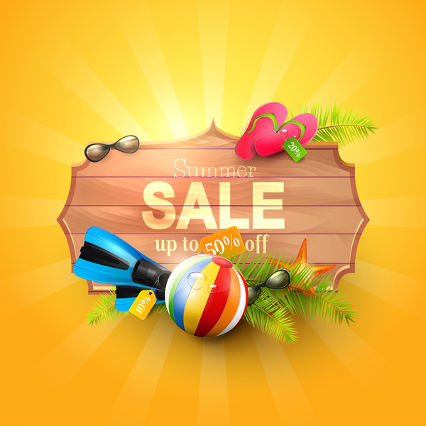 Summer sale sign with orange background vector