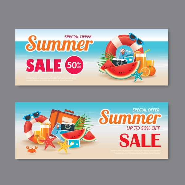 Summer special offer banners design vector 01