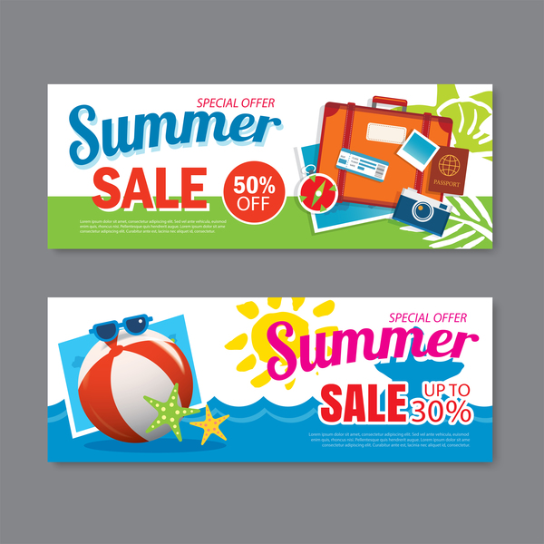 Summer special offer banners design vector 04
