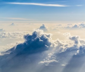 Sunny sea of clouds Stock Photo