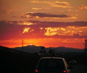 Sunset red sky Stock Photo
