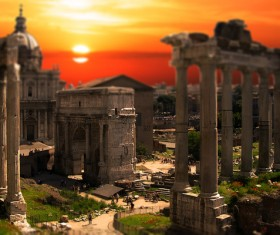 Sunset under the ancient Roman square Stock Photo