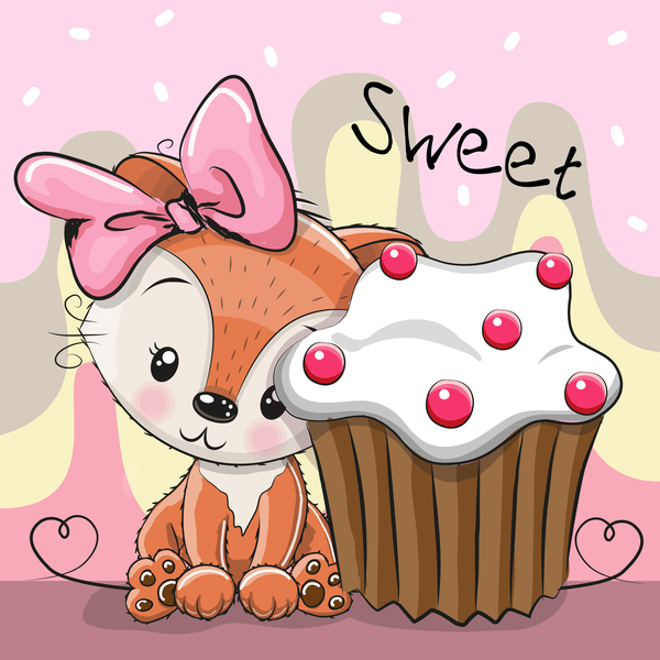 Sweet cupcake card vector 02