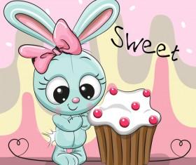 Sweet cupcake card vector 04
