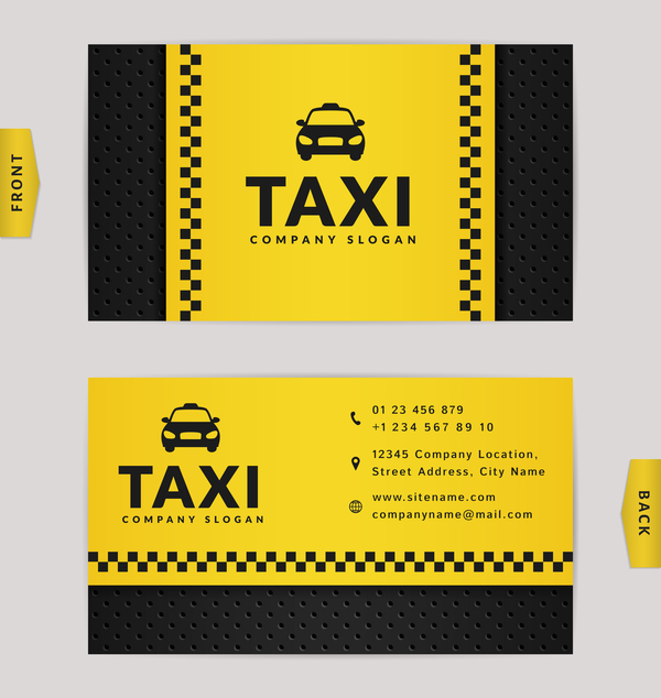 Taxi business card yellow with black color vector template 01