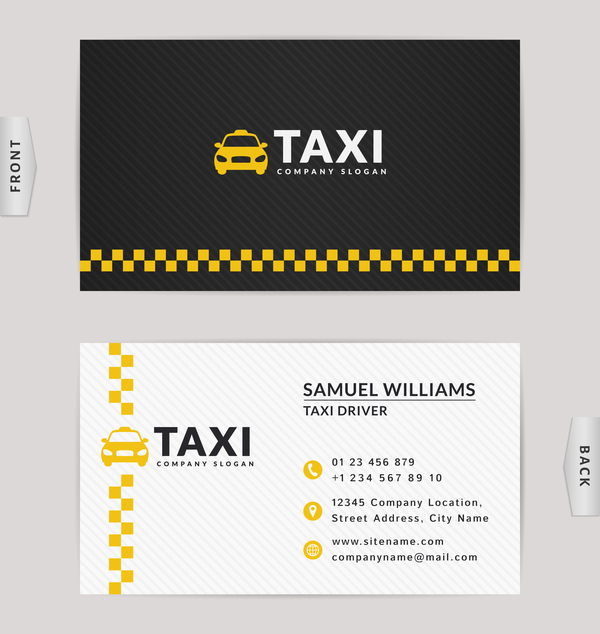 Taxi business card yellow with black color vector template 02
