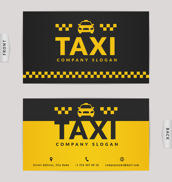 Taxi business card yellow with black color vector template