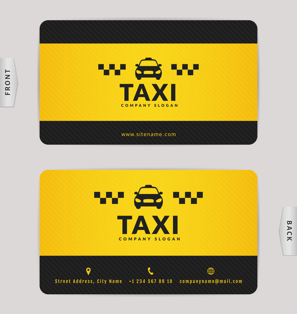 Taxi business card yellow with black color vector template 04