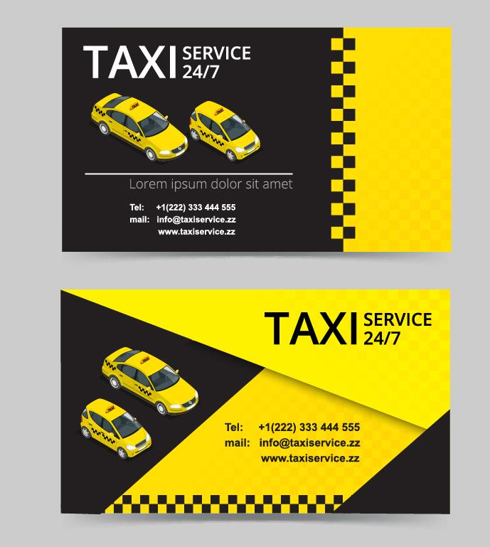 Taxi service business card template vector