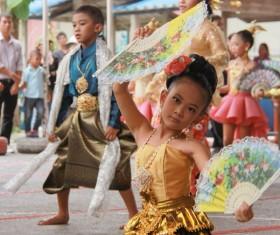 Thai little girl dancing Stock Photo