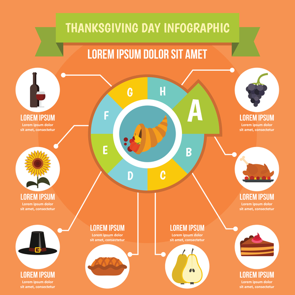 Thanksgiving infographic design vector