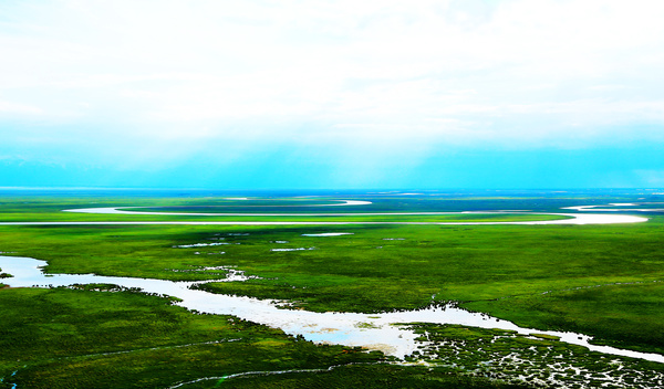 The beautiful river on the prairie Stock Photo