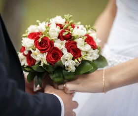 The bride and groom hold the bouquet Stock Photo