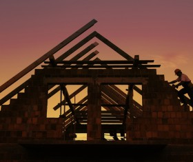 The construction of the wooden house Stock Photo 04