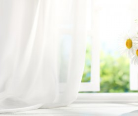 The floral arrangements on the windowsill Stock Photo