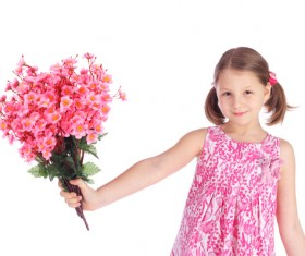 The little girl holding a flower Stock Photo