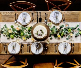 The place of the table ware Stock Photo