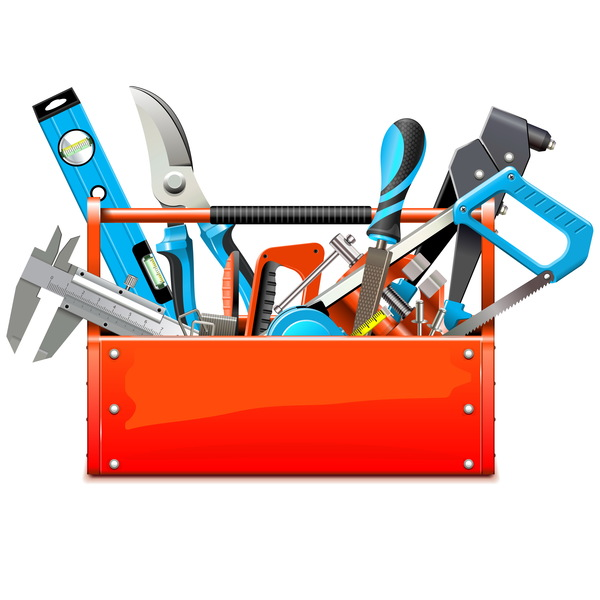 Toolbox with Hand Tools vector