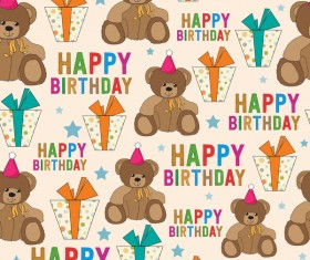 Toy bear and happy birthday seamless pattern vector