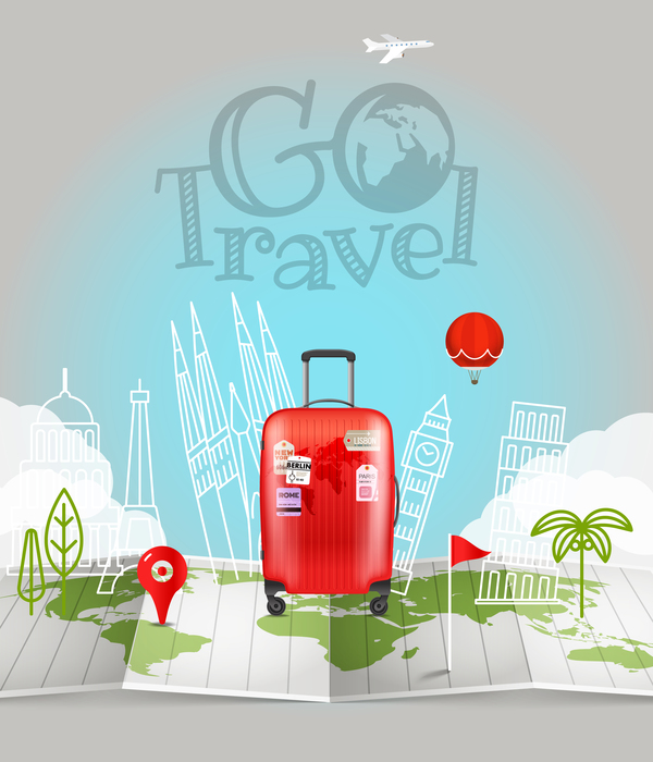 Travel background with world map vector